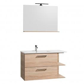 Meuble de salle de bains avec ou sans miroir 90 cm-Anna- chêne naturel BATHDESIGN