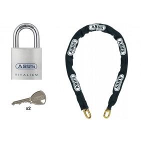 Cadenas anse acier cémenté 80TI/50 Titalium et chaîne 40 cm 8KS/40 ABUS