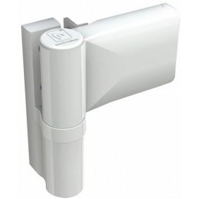 Paumelle pour menuiserie PVC - porte 120 kg - type KT-NR6 - blanc HAHN