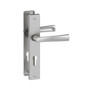 Poignée de porte sur grande plaque - aluminium chrome satiné - Flex ASSA ABLOY VACHETTE