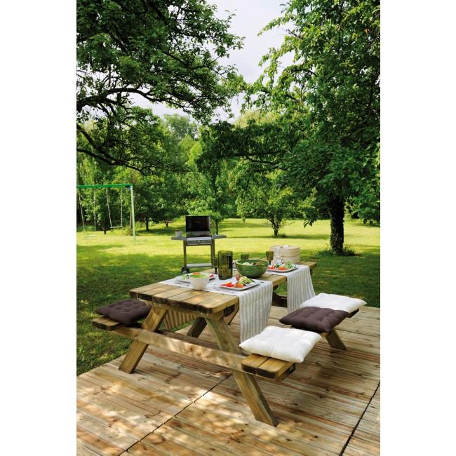 Table pique nique en bois avec bancs - longueur 200 cm - Garden 200B