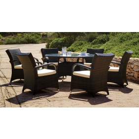 Table de jardin ronde Oregon et 6 fauteuils avec coussins INDOOR OUTDOOR