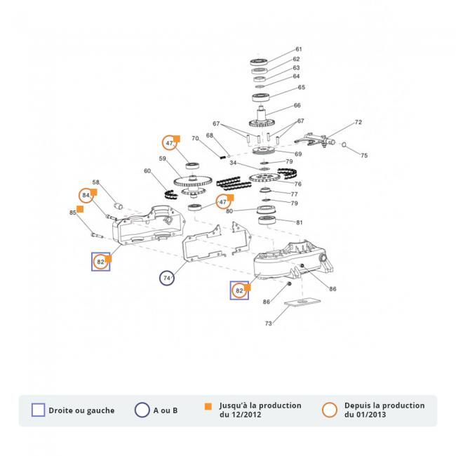 Pièces détachées pour cellule motrice P55 - éclaté n°2 EUROSYSTEMS