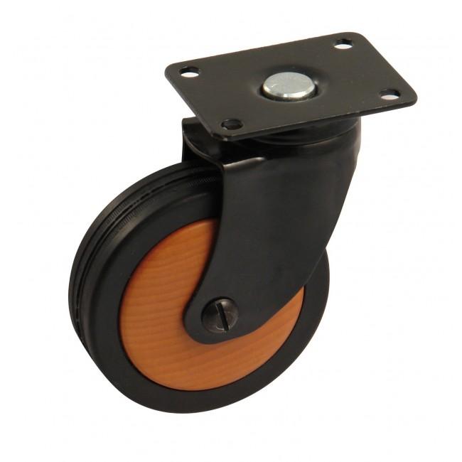 Roulette de meuble pivotante - chape acier noir - galet bois AVL