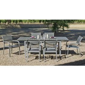 Table de jardin Denis/Amberes : 1 table et 6 fauteuils HEVEA