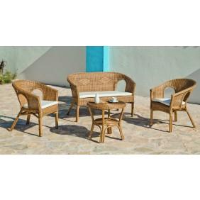 Salon de jardin en rotin naturel Pal : sofa + 2 fauteuils avec coussins + 1 table basse HEVEA