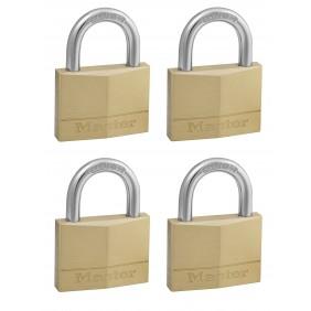 Lot de 4 cadenas à clé s'entrouvrants - laiton massif - 50mm de large MASTER LOCK