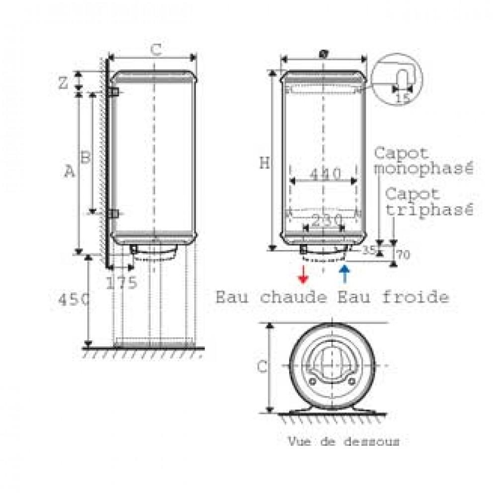chauffe eau aci hybride monophas sur socle 250 l. Black Bedroom Furniture Sets. Home Design Ideas