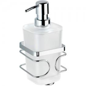 Distributeur de savon - Mural - Acier et verre satiné - Forme carrée WENKO