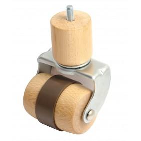 Roulette en bois sur platine pivotante - bande souple- charge 100 kg AVL