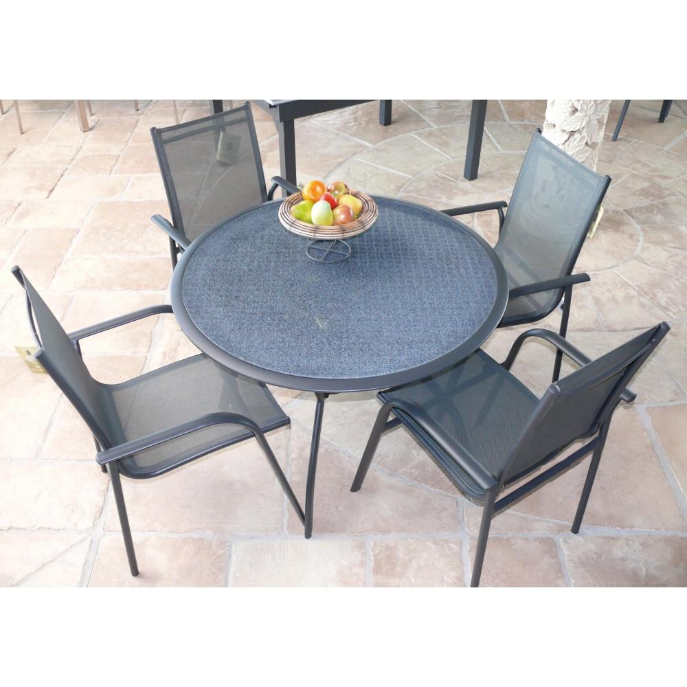 fauteuil de jardin aluminium et textil ne gris marina bricozor. Black Bedroom Furniture Sets. Home Design Ideas