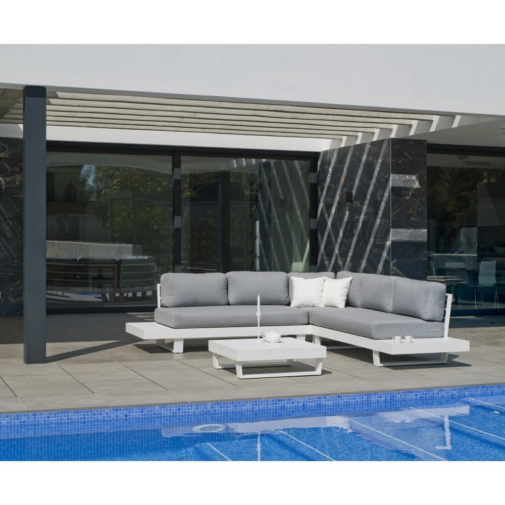 Salon de jardin en aluminium - coussins gris clair - Anastacia ...