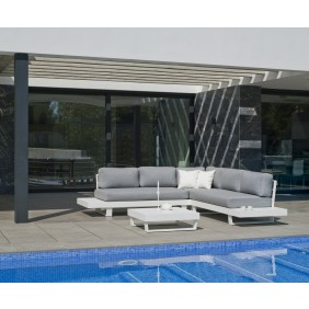Salon de jardin en aluminium - coussins gris clair - Anastacia INDOOR OUTDOOR