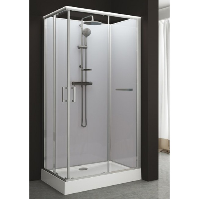 Cabine de douche rectangulaire 80 x 120 cm portes for Cabine de douche kinemagic