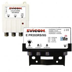 Kit préamplificateur UHF LTE 5G - couplage SAT/VHF et alimentation 10V EVICOM