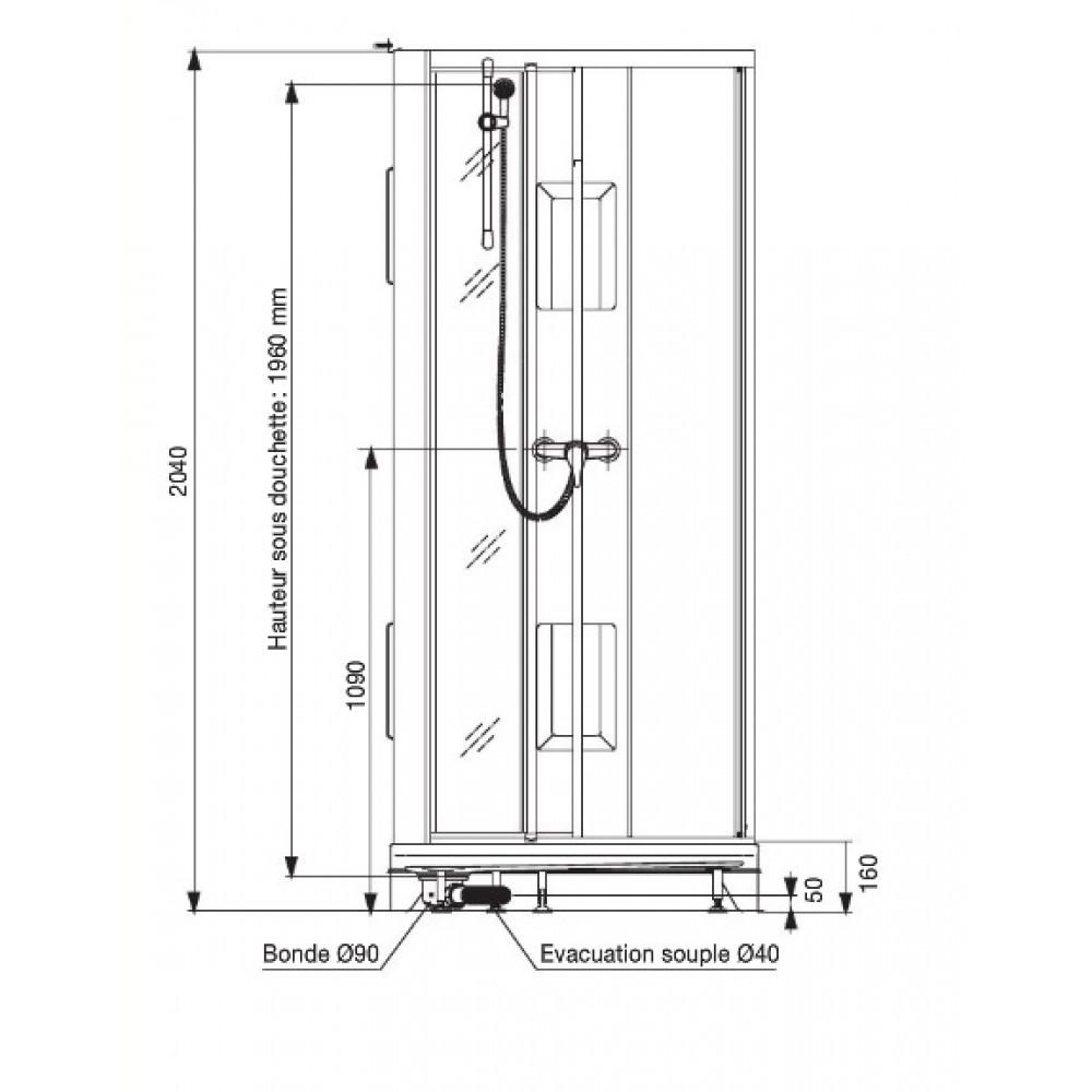 Cabine de douche 1 4 de cercle 90x90 cm portes - Cabine de douche porte coulissante ...