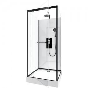 Cabine de douche - City - rectangles - porte pivotante - 3 dimensions AURLANE