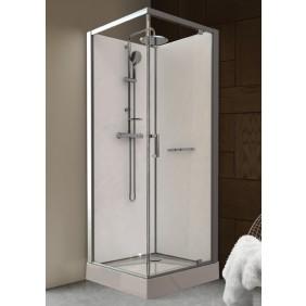 Cabine de douche - 90 x 90 cm prête à poser porte pivotante - Kara LEDA