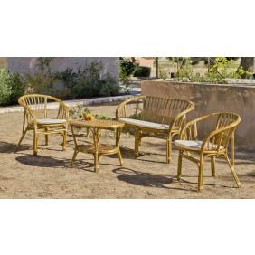 Salon de jardin en rotin naturel Nilfisk : 1 sofa, 2 fauteuils avec coussins et 1 table basse