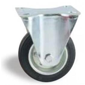 Roulette fixe sur platine tole - bandage caoutchouc noir AVL