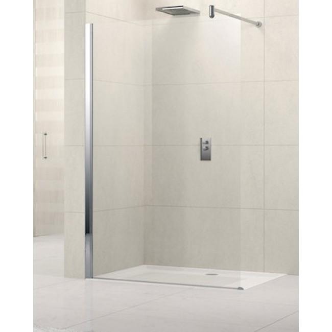 Paroi de douche à l'italienne profilés blancs - 118 à 119,5 cm - Lunes NOVELLINI