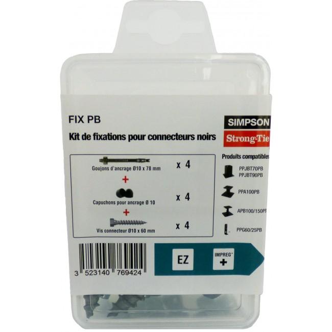 Kit de fixation noir pour pieds de poteaux - FIX B SIMPSON Strong-Tie