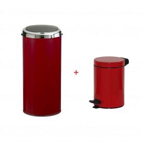 Poubelle de cuisine automatique 45 L + poubelle salle de bain 3 L - rouge ROSSIGNOL