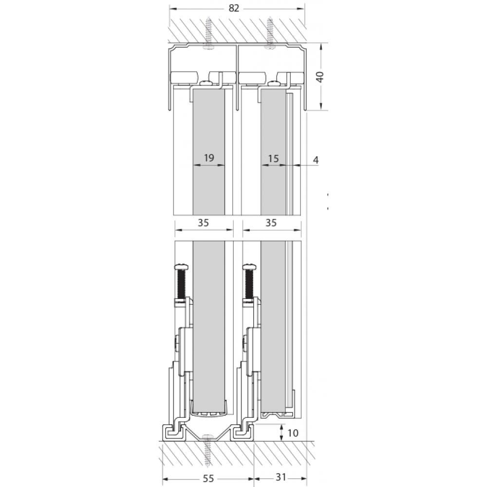 Rail double haut pour porte coulissante pro line p100 seed bricozor - Rail double porte coulissante ...