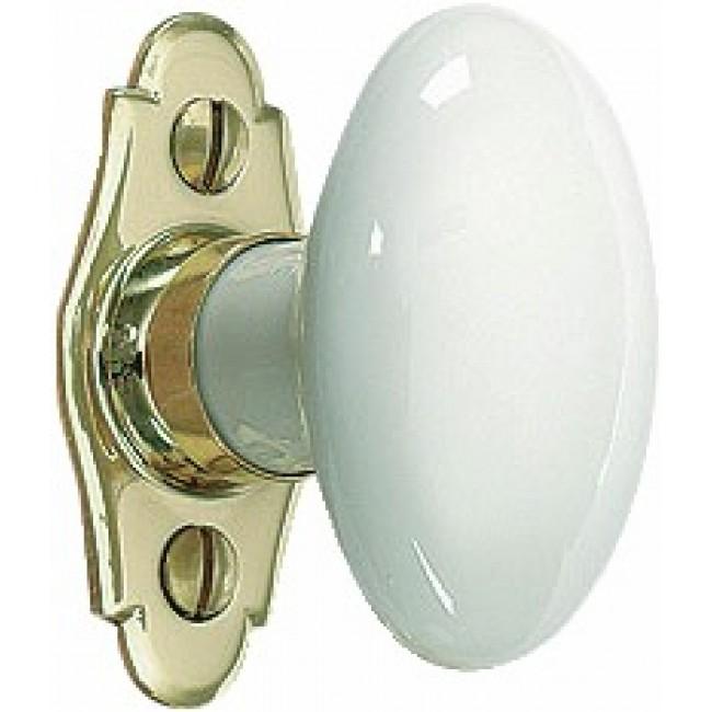 Poignée de fenêtre à bouton porcelaine ovale MÉRIGOUS