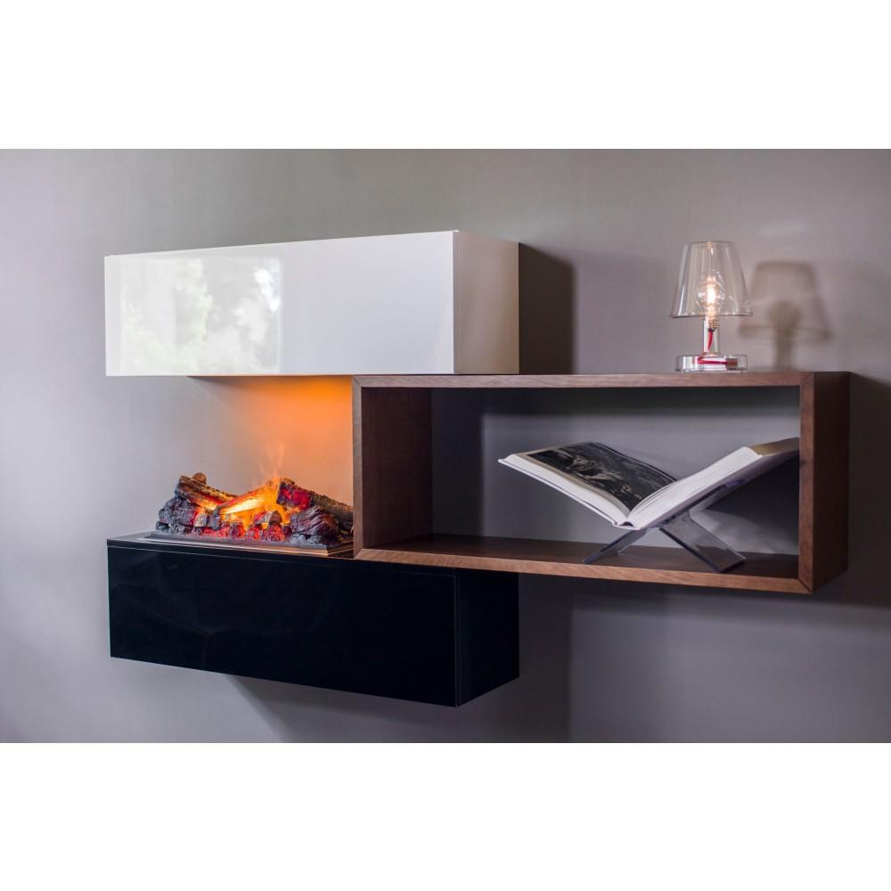 chemin e tag re noire blanche et bois et foyer encastrable d coratif stack glen dimplex. Black Bedroom Furniture Sets. Home Design Ideas
