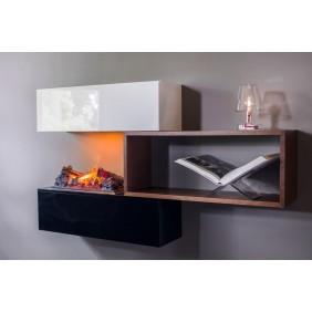Cheminée / étagère noire, blanche et bois et foyer encastrable décoratif - Stack GLEN DIMPLEX