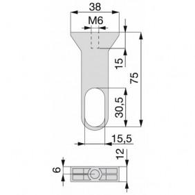 Support milieu pour tube de penderie 30x15 EMUCA
