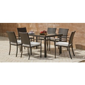 Table de jardin Bahia 150 : 1 table 150 + 6 Fauteuils Bahia 30 et coussins ecru INDOOR OUTDOOR