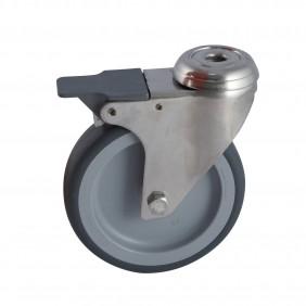 Roulette sur oeil inox pivotant à frein - bandage santoprène gris AVL
