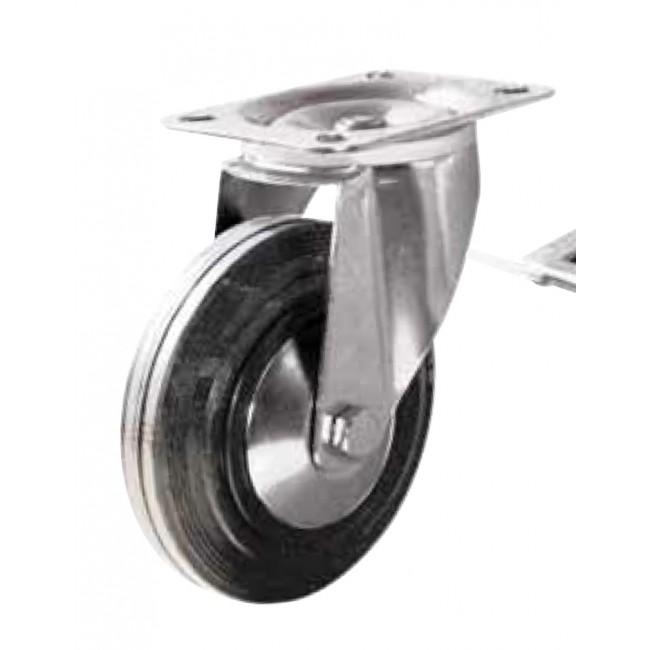 Roulette pivotante sur platine - bandage caoutchouc - Manu-Roll GUITEL