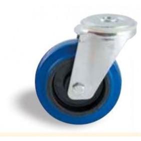 Roulette pivotante sur oeil - bandage caoutchouc bleu AVL