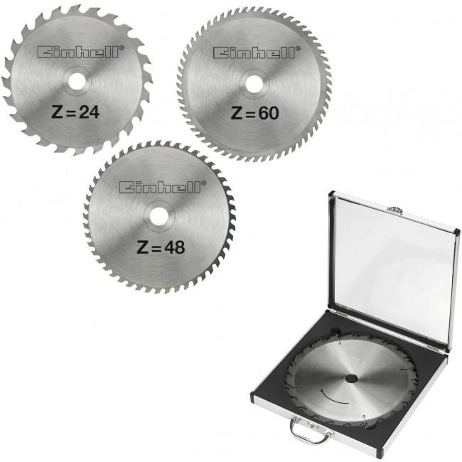Coffret 3 lames de scie TCT (24, 48 et 60 dents) - 250 x 30 x 3,0 mm EINHELL