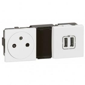 Prise de courant fort 2P+T + chargeur double USB - Mosaic LEGRAND