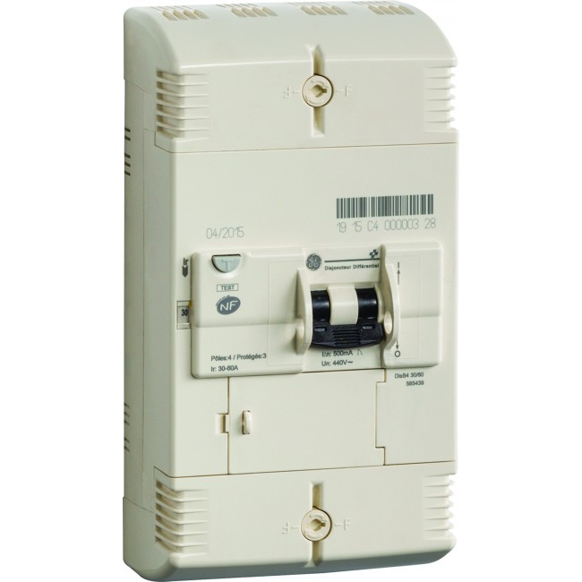 Disjoncteur EDF instantané - type 4P 30-40-50-60 A - 500 mA AEG