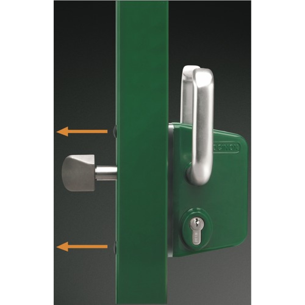 serrure de portail coulissant cylindre europ en lskz vert locinox bricozor. Black Bedroom Furniture Sets. Home Design Ideas