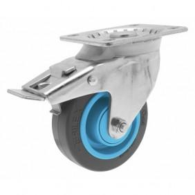 Roulette pivotante - à blocage - sur platine - Résilex®  - Gemroll POINT M