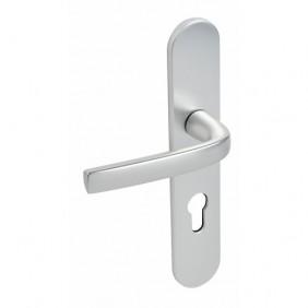 Poignées de porte sur plaques - entraxe 195 mm - alu argent - Logio VACHETTE