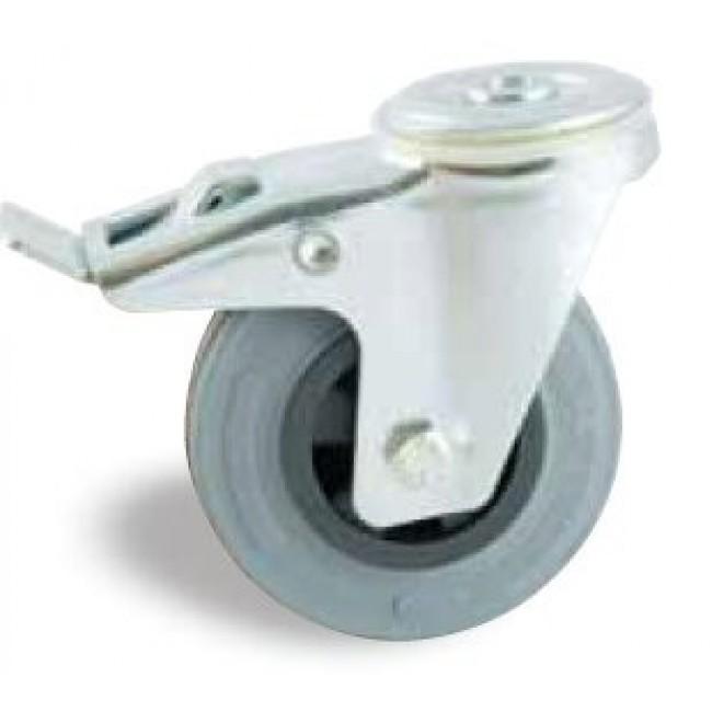 Roulette à bandage caoutchouc gris à oeil pivotant à frein AVL