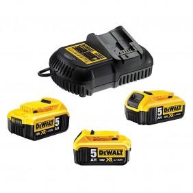 Pack 3 batteries XR 18V 5Ah Li-Ion + chargeur DEWALT