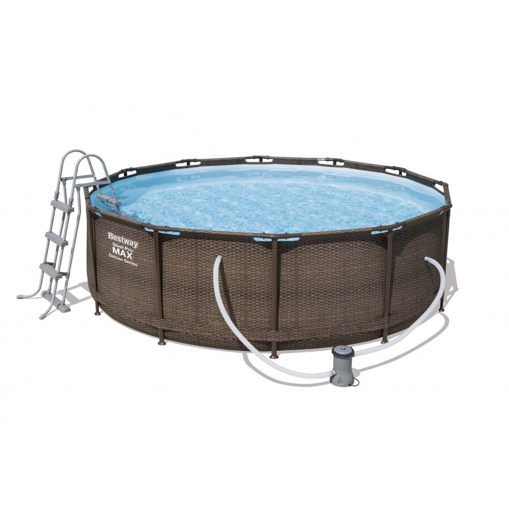 piscine tubulaire ronde imitation tress 366x100cm. Black Bedroom Furniture Sets. Home Design Ideas