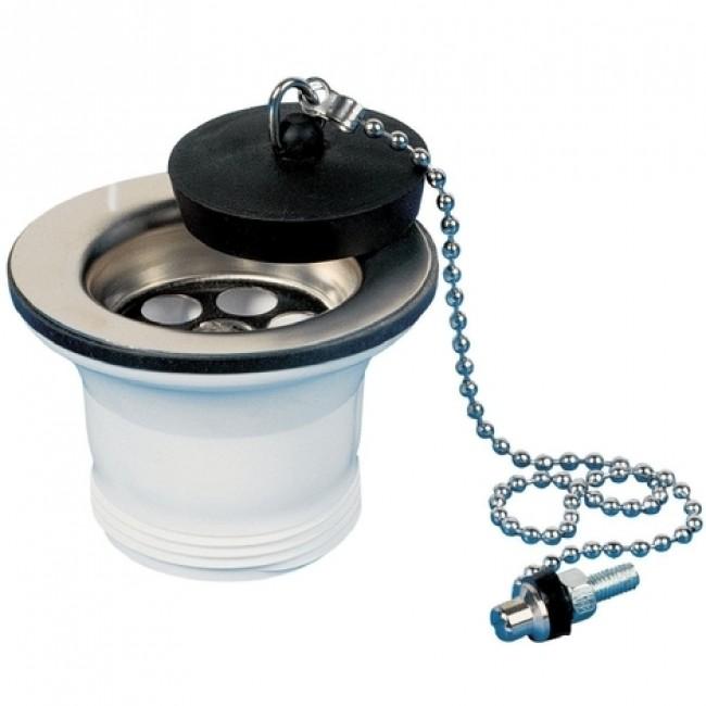 Bonde pour évier - à bouchon plastique noir VALENTIN