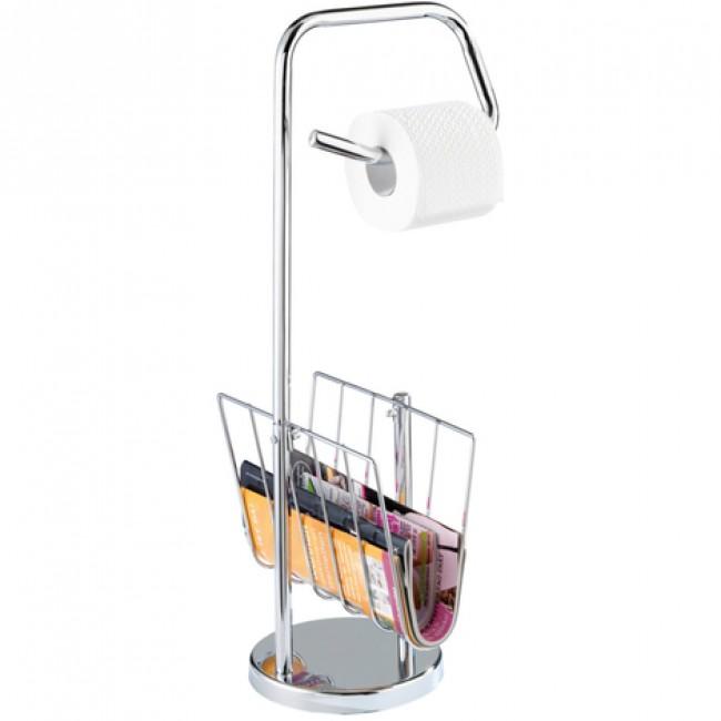 Dérouleur papier WC et porte-revue - sur pied - Acier inox WENKO