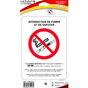 Panneau d'interdiction de fumer et de vapoter NOVAP