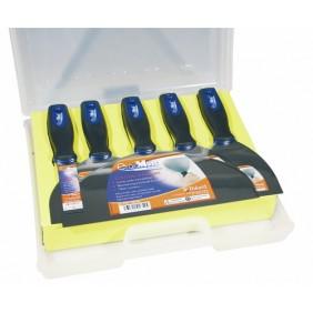 Mallette de cinq couteaux à enduire en inox bi-matière