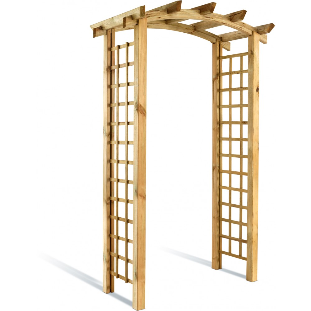 pergola en bois 220 cm double en arc kiwano avec treillage bricozor. Black Bedroom Furniture Sets. Home Design Ideas